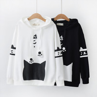 Japanese Styles Lovely Cat Paw Printed Hoodie Long Sleeve Lolita Tops 2Colors