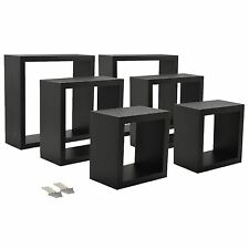 Square Floating Wooden Wall Storage Display Shelves 3 Sizes Black Set of 6