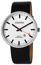 Herrenuhr Neue Klassische Bahnhofsuhr Leder- Armband Uhr Datum Gehäuse 42 mm