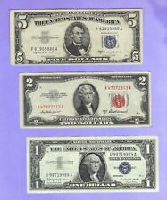 OLD Currency $1 $5 Blue Seal SILVER Certificates $2 Dollar Bill US RED Seal Note