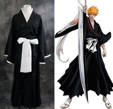 Kimono Japonés Anime Bleach Kurosaki Ichigo Abrigo Juegos con disfraces Halloween Traje