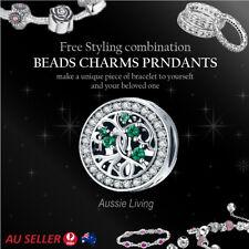 925 Sterling Silver Floating Diamond Charm European Bracelet Ladies Pendant Bead