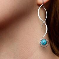 Women 925 Silver Fashion Dangle Drop Ear Hook Turquoise Wedding Earrings Gift