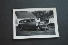 Vintage Car Photo Girl Sitting on Hood 1947 Chevrolet Sedan Delivery 902044