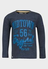 NEW Minoti Boys Washed Navy Urban Long Sleeved T-Shirt - Age 12-13 Years