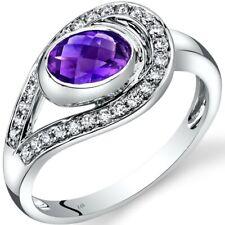 14K White Gold Amethyst Diamond Infinity Ring  0.75 Carats Size 7