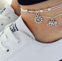 Fußkettchen Damen 2set Boho Silber Fuß Kette Armband Strand Anhänger