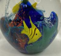 Multi-Colored Murano Style Art Glass Fish Tank Aquarium * Paperweight * * KA