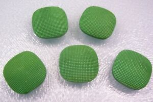 5 vtge. (unused) green glass 'square' buttons/textured convex top 21mm. square