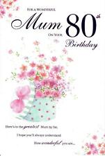 Beautiful Greeting Card For A Wonderful Mum On Your 80th Birthday