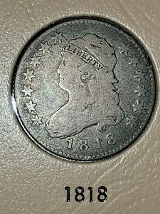 1818 CAPPED BUST QUARTER 25C SILVER VG+