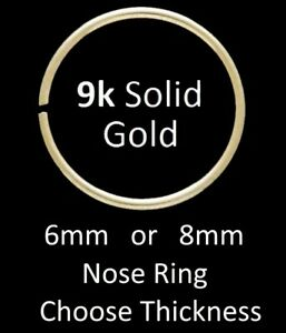 Solid 9ct Gold - TIGHT FIT Nose Ring - Choose: 6mm or 8mm