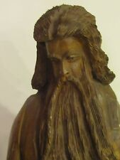 Vintage Moses Ten Commandments Statue  Carved Olive Wood 20 Inches Tall
