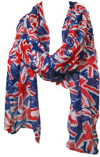 Union Jack London Souvenir UK Flag Print Fashion Maxi Scarf Sarong-Royal Blue/Rd
