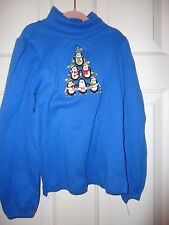 NEW!!  DECK THE HALLS BLUE Girls Turtle Neck Shirt Top Size 5/6