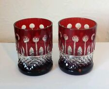 Pair of De Martise Ruby Cut Glass Small Whisky Tumblers by Ajka Crystal