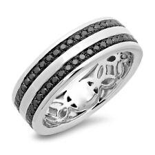 Mens 0.86 CT 14K White Gold Natural Round Cut Black Diamond Wedding Band Ring