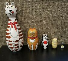 5Pcs Russian Doll Matryoshka Toy Decor 43190 Nesting Cats and Tiny Mouse