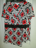 Dressbarn Blouse Women's 2X Short Sleeve Faux Wrap Red,White & Black