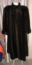 USA vtg LOROVI XL Woman's Cheetah Long Faux Fur Lined Dark brown Heavy Warm Coat