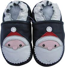 carozoo santa dark blue 2-3y soft sole leather toddler shoes