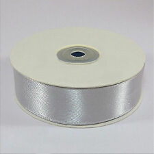 Full Reel Silver Double Sided Satin Ribbon 3 10 16 25mm Crafts Cards Wedding 25mm X 25m