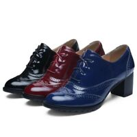 Womens Block Heels Brogues Shoes Lace Up Oxfords Casual Round Toe Patent Leather