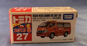 Tomy Nissan NV350 Caravan Fire Chief Car Boxed Tomica Car Figure Japan NIB