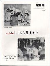 Publicité GUIRAMAND galery ANDRE WEIL  vintage Art  print ad  1962 - 9ib