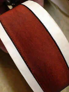 """Vintage French Ribbon Acetate Rayon 7/8"""" Chestnut Brown 1yd Made in France"""