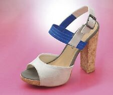 LADIES FAUX SUEDE COLOUR BLOCK PEEP TOE SANDALS IN STONE AND BLUE SIZES 5-7 BNIB