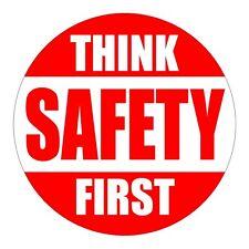 Think Safety First Hard Hat Decal / Label / Helmet Sticker / Safe Worker Laborer