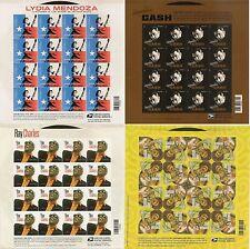 US 2013 2014 MUSIC ICONS HENDRIX CASH CHARLES-MENDOZA MINT NHVF 16 STAMP 4 SHEET