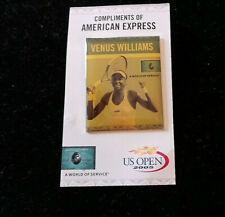 US Open Venus Wiliams Photo Pinback on original card American Express 2005 NF