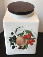 Pristine Vintage MCM Hyalan White Ceramic Canister Wood Lid Fruit Motif 199-L