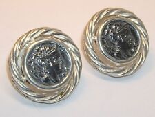 Beautiful  925 Italy Sterling Ancient Roman Republic Coin Pierced  Earrings 1""