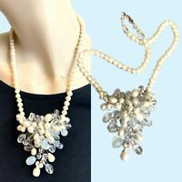 Beautiful Pearl Flower Necklace Freshwater Floral Spray Wired Romantic Rococo