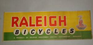 ENGLAND RALEIGH BICYCLES BIKES NOTTINGHAM VTG ADVERTISING POSTER SIGN 1950's