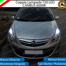 COPPIA LUCI DIURNE DRL LED T20 CANBUS OPEL CORSA D 6000K BIANCO 100% NO ERROR