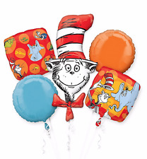 Dr. Seuss Cat in the Hat Balloon Bouquet Birthday Party Decoration Supplies ~5pc