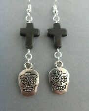 WOMENS EMO BLACK CROSS DROP EARRINGS WITH GOTHIC DAY OF THE DEAD SILVER SKULL