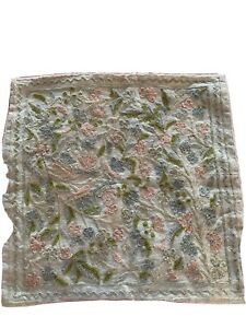 Vintage Crewel Work Embroidered Cushion Cover