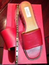 NEW VALENTINO GARAVANI 39 red leather gold rockstud slide flat sandals $695