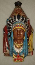 Indian Chief 3 Faces Tobacco Jar Teepee Top Lid Humidor Solid Chalkware