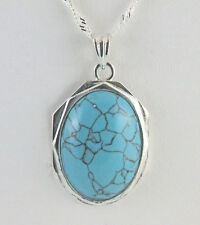 """Turquoise Cabochon  25 X18 mm Necklace with 18+1"""" Singapore Chain Silver Plated"""