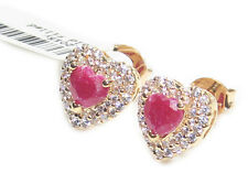 Genuine Precious 1.45CT RUBY Heart  Earrings. Gold Filled, UK Guarantee 3µ / 10.
