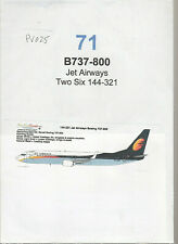 Decal - B737-800 - Jet Airways - Two Six 144-321 - (Ref. DC71)