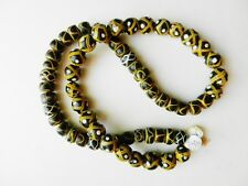 African Trade Beads Strand~Criss-Cross w/White Dots & Rattlesnake Yellow/ Black
