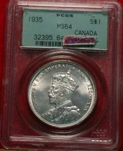 1935 Canada One Dollar Silver Foreign Coin PCGS Graded MS64
