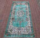 Anatolian Medallion Design Overdyed Carpet Turkish Vintage Blue Area Rug 4x8 ft